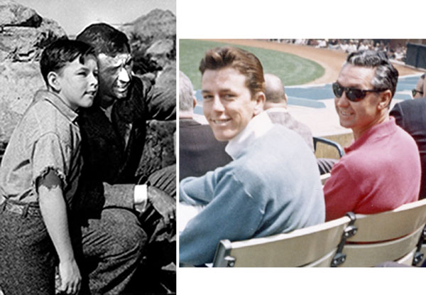 "Both Jimmy Hawkins, who became Tagg on ""Annie Oakley"", and James Griffith worked extensively for Gene Autry and became close friends over the years. On the left they're seen in ""Death Valley Days: Solomon and All His Glory"" ('53). Ten years later in '63 Jimmy and Jim are seen attending a baseball game at Dodger Stadium. (Thanx to Jimmy Hawkins.)"
