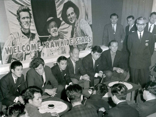 """Rawhide"" stars Clint Eastwood, Paul Brinegar and Eric Fleming are welcomed at the Tokyo Palace Hotel in 1962. (Thanx to Terry Cutts.)"