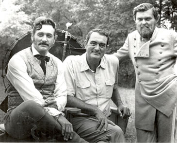 "Rock Hudson, director Andrew McLagen and Ed Faulkner on location for ""The Undefeated"" ('69)."