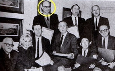 "Rare '60s photo of Allan ""Rocky"" Lane and a group of executives and stars of ""Mr. Ed"". Lane is circled at the top, Connie Hines and Alan Young are second and third from the left. (Thanx to Carmen Sacchetti.)"