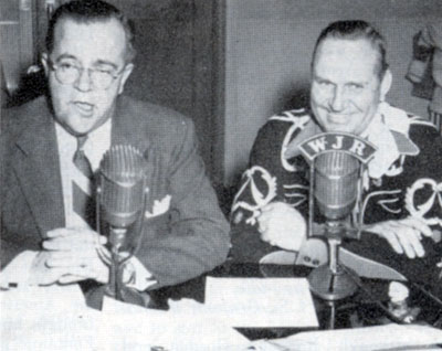 "Gene Autry appears on Bud Guest's WJR-Detroit ""Sunny Side of the Street"" radio show in mid 1955."