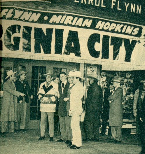 "Revelry in Reno! For the premiere of Warner Bros.' ""Virginia City"" ('40), Warners sent a host of stars to Reno, NV, including (Center L-R) Buck Jones in his Hudson Bay coat, Errol Flynn, William Boyd and Tom Mix."
