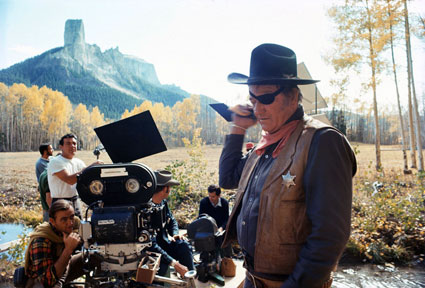 "John Wayne pauses during the making of ""True Grit"" ('69). (Thanx to Pat Shields.)"