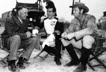 "Director Frank Loyd, J. Carroll Naish and Sterling Hayden during the filming of Republic's ""The Last Command"" ('55) in Brackettville, Texas."