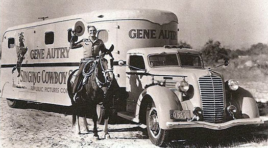 Gene and Champ beside a Republic Pictures truck. (Thanx to Billy Holcomb.)