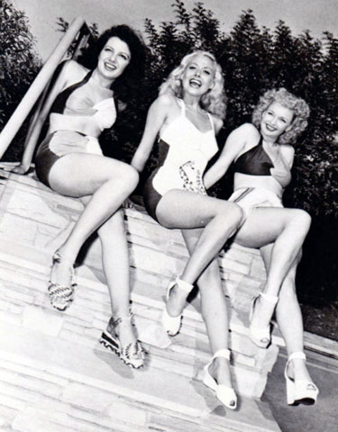 Ooh La La! Republic cheesecake. Janet Martin, Adele Mara, Dale Evans in Oct. 1945. (Thanx to Janey Miller.)