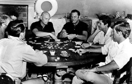 "Poker with the ""Magnificent 7"". (L-R) Robert Vaughn, Steve McQueen, Horst Bucholtz, Yul Brynner, Brad Dexter, Charles Bronson, James Coburn."