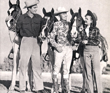 Rory Calhoun, Montie Montana and Gale Storm at a western rodeo in Palm Springs, CA, circa 1952.