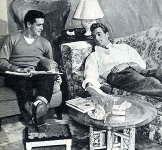 A pre-Wild Bill Hickok Guy Madison and younger brother stuntman/actor Wayne Mallory relax at home in 1947.