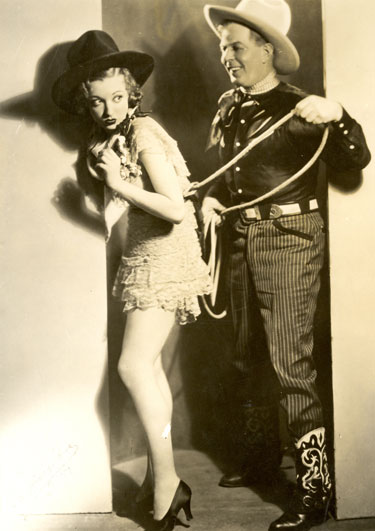"Hoot Gibson seems to enjoy roping June Gale with whom he was romantically linked for a spell in the mid-'30s. Gale (1911-1996) made three films with Hooter—""Rainbow's End"" ('35), ""Swifty"" ('35) and ""Riding Avenger"" ('36). Gale was one of four sisters—June, Jane, Joan, Jean, who all appeared in vaudeville and later in films."