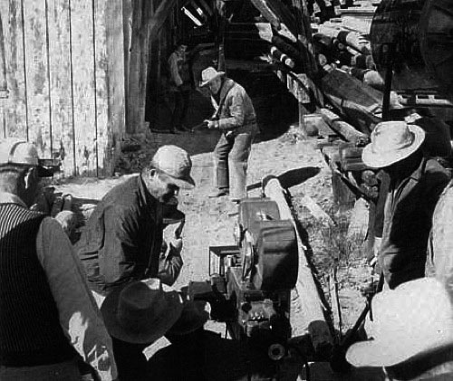 "Production shot of James Stewart filming ""Night Passage"" in 1957. (Thanx to Jerry Whittington.)"