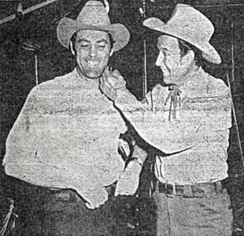 "Bill Elliott seems to be chiding Allan ""Rocky"" Lane about his five o'clock shadow. Lane was visiting Elliott on the set of ""The Last Bandit"" ('49)."