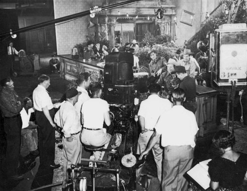 "Behind the scenes photo taken during the filming of ""Trail of Robin Hood"" with Roy Rogers, Foy Willing and the Riders of the Purple Sage in 1950. (Thanx to Jerry Whittington.)"