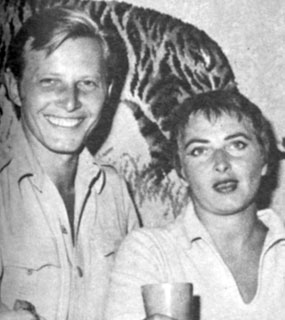 "Jan Merlin, star of ""The Rough Riders"", with his wife Pat in 1958. They were married from 1951 until her death in 1986. Jan and current wife Barbara live in Burbank, CA."