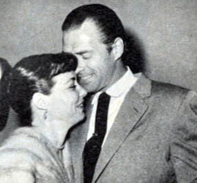 "The ""Range Rider"" and ""Yancy Derringer"", Jock Mahoney and actress Margaret Field. They were married from 1952 until a divorce in 1968. Photo from 1958."