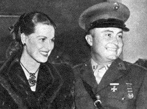 And...for a bit of a reverse, here's actress Maureen O'Hara with her second husband Lt. Will Price attending the 1944 Ice Follies. The couple were married from December 1941 to August 1953.