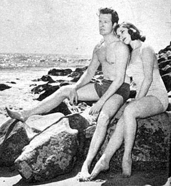 """Trackdown"" star Robert Culp on the beach with wife No. 2 of 5, Nancy Asch in 1958. They were married May 29, 1957 and divorced September 22, 1966."