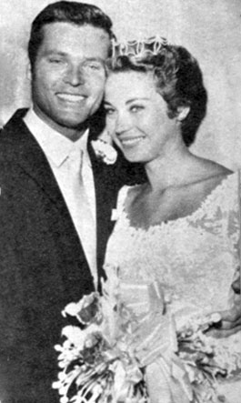 "Ty (""Bronco"") Hardin with his new bride starlet Andra Martin. Married August 30, 1958 and divorced June 1, 1960. Martin was the second of eight wives for Ty who as been married to Caroline since 2007. They live in Huntington Beach, CA."