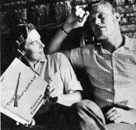 "Chuck Connors runs his lines for a ""Rifleman"" episode with his wife Elizabeth in '61."