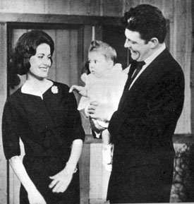 "Dale Robertson, star of ""Tales of Wells Fargo"", on ""This is Your Life"" in 1961 with his wife Lulu Mae Harding (they were married in November '59) and adopted daughter Rebel."