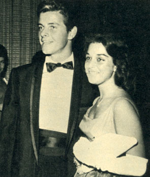 "Peter (""Lawman"") Brown in 1961 with his date singer Joanie Sommers who had a big Top 40 hit in 1962 with ""Johnny Get Angry."""