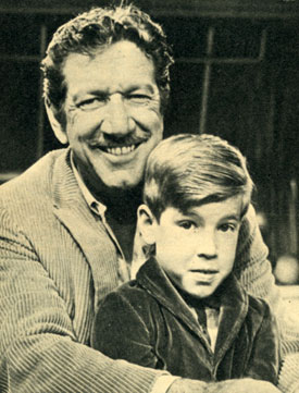 "6' 2"" craggy faced Richard Boone, star of ""Have Gun Will Travel"", with his son Peter in 1961."