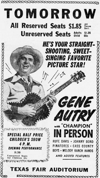 Gene Autry in person poster.