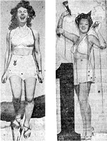Shirley Patterson keeps fit in 1943 by skipping rope while Lois January celebrates January 1, 1943.