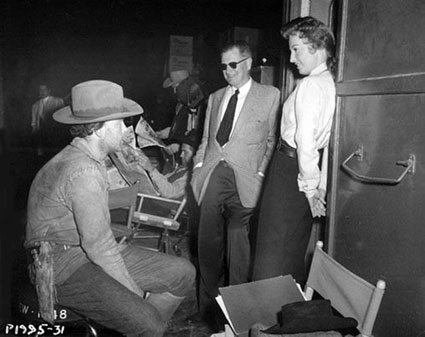 "Scott Brady and Barbara Stanwyck talk with director Joe Kane on the set of Republic's ""Maverick Queen"" ('56). (Thanx to Bobby Copeland.)"