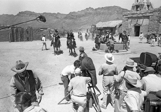 "Shooting a scene for TV's ""High Chaparral"" at Old Tucson. Don Collier and Cameron Mitchell are riding in. Mark Slade is in front of them and Leif Erickson is on the left. (Thanx to Marianne Rittner-Holmes.)"