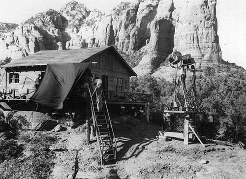 "A set for ""Johnny Guitar"" built at the foot of Coffee Pot Rock in Sedona, AZ. (Thanx to Jerry Whittington.)"