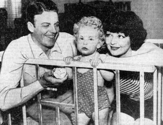 Rex Bell and wife Clara Bow with their 14 month old son Rex Lardow Bellin March, 1936.