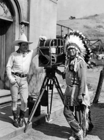 "Tom Mix and Jim Thorpe on location for (probably) ""My Pal the King"" ('32 Universal). (Thanx to Jerry Whittington.)"