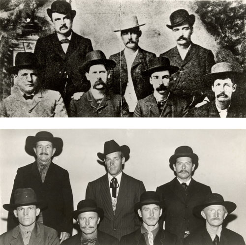 """Death Valley Days"" researchers obtained an actual photo of the famous Dodge City Peace Commission (top) to use as typecasting for the ""Extra Guns"" episode starring Guy Madison (below center). Top photo (L-R) are W. H. Harris, Luke Short, Bat Masterson, Charlie Bassett, Wyatt Earp, Frank McClain and Neil Brown. (Thanx to Neil Summers.)"