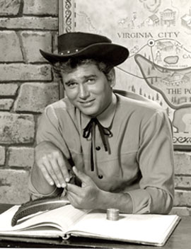 "Michael Landon poses in front of the ""Bonanza"" map. (Thanx to Neil Summers.)"