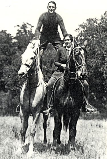 Ken Maynard Roman riding with Tarzan and Ken's wife (not sure which wife this is...Arlie, Jeanne or Mary).