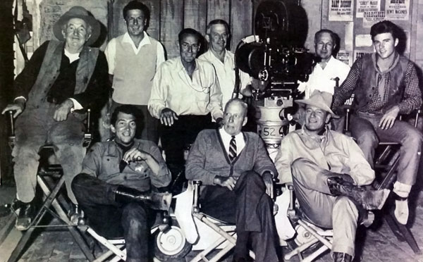 "The main cast and crew of ""Rio Bravo"" ('59 WB). (L-R front) Walter Brennan, Dean Martin, director Howard Hawks, John Wayne, Ricky Nelson. (Thanx to Jerry Nolan.)"