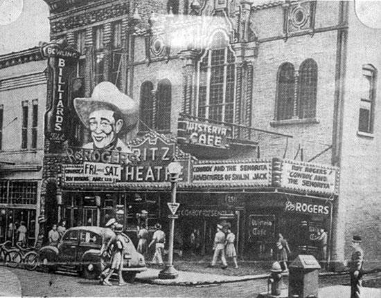 "The Ritz Theater in Macon, GA, in 1944 showing ""Cowboy and the Senorita"" with Roy Rogers and Dale Evans plus a chapter of ""The Adventures of Smilin' Jack"". (Thanx to Cash Stanley.)"
