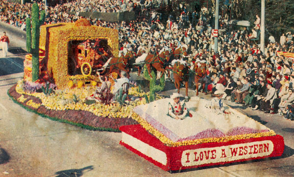 The Post Cereals/Roy Rogers, Dale Evans float in the Pasadena Tournament of Roses parade in 1956. Roy and Dale consecutively won the Grand Prize and two Governor's Trophies. The stagecoach rocked, its wheels turned and the horses were in motion.
