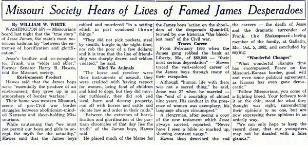 Since so many Westerns were made about Frank and Jesse James, we thought this February 2, 1939, newspaper article was of interest.
