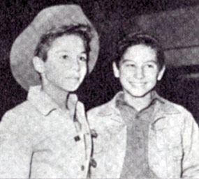 "Brothers in the saddle...Johnny Crawford of ""The Rifleman""  and Bobby Crawford of ""Laramie""."