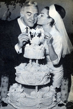 """Bonanza""'s Lorne Greene and his wife Nancy at their 1961 wedding."
