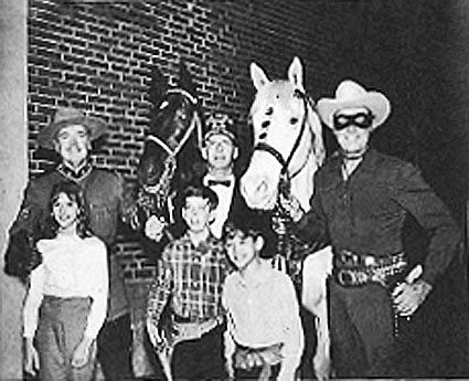 Sgt. Preston of the Yukon (Richard Simmons) and The Lone Ranger (Clayton Moore) appeared together at the Shrine Circus in Harrisburg, PA. Roy E. Walters Sr., Freeman and Noble of Zembo Temple stands between them. (Thanx to Janet Brayden and REMINSCE magazine.)
