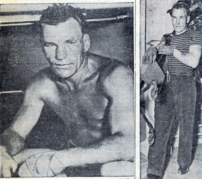 "Two photos of 36 year old Jack Roper in February 1939. Roper was in training for his World Heavyweight Boxing Championship fight with Joe Louis. In the fight on April 17, 1939, Roper was KO'd in the first round. Roper, who had scored nine first round knockouts in his career briefly stunned Louis in the first round before being knocked out in 2 minutes 22 seconds. The entire fight can be seen on You Tube. Roper compiled a professional boxing record of 54-44-9 with 27 knockouts. Roper was born March 25, 1904, in Ponchatoula, LA. Besides his boxing career, he acted in films from 1928-1952 and worked in between films as an electrician in movie studios. Roper's Westerns were ""Flaming Frontiers"" serial ('38) w/Johnny Mack Brown; ""Wall Street Cowboy"" ('39) w/Roy Rogers; ""Heroes of the Saddle"" ('40) w/The Three Mesquiteers; ""West of Carson City"" ('40) w/Johnny Mack Brown and Bob Baker; ""Ridin' the Cherokee Trail"" ('41) w/Tex Ritter; ""North from the Lone Star"" ('41) w/Bill Elliott; ""Lone Star Lawmen"" ('41) w/Tom Keene; ""Rolling Down the Great Divide"" ('42) w/Lee Powell, Art Davis and Bill Boyd; ""Dakota"" ('45) w/John Wayne and a ""Cisco Kid"" TV episode in '50. He's also in seven Joe Palooka Monogram features in the late '40s. Roper died at 62 November 1, 1966, of throat cancer."