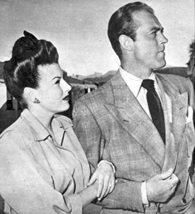 "Sheila Ryan and Allan ""Rocky"" Lane on their honeymoon in Las Vegas in late 1945."