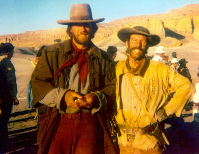 "Clint Eastwood and stuntman/actor Neil Summers on location in Page, AZ, for ""The Outlaw Josey Wales""."