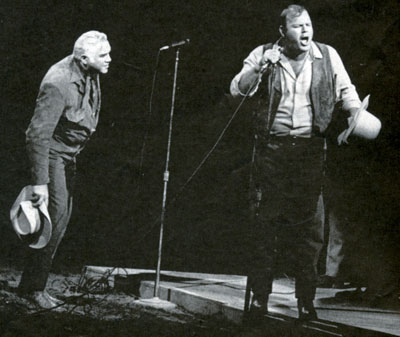 """Bonanza""'s Lorne Greene and Dan Blocker in one of their in-person comedy routines they performed at fairs and rodeos."