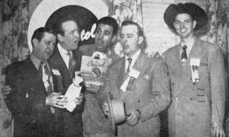 Pee Wee King, Red Foley, Tennessee Ernie Ford, Jimmy Wakely and Hank Thompson. There's a Capitol Records sign behind them but not sure for what event this photo was taken circa 1950.