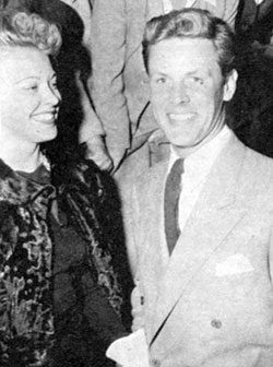 "Up and coming star Bill Edwards out on a date with non-actress Hazel Allen in early '46. At the time Edwards had a small role in ""The Virginian"" remake with Joel McCrea. Edwards later starred in ""Fighting Stallion"" and ""Border Outlaws"" (both '50) before becoming a respected oil painter."