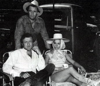 "Rod Steiger, Brian Keith and Sara Montiel on the set of ""Run of the Arrow"" ('57)."